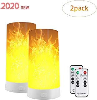 LED Flame Effect Light, USB Rechargeable Flame Table Lamp with 4 Modes Waterproof USB Rechargeable Flickering Flame Lantern with Remote for Party Home Bar (Warm)