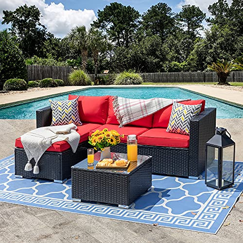 SUNLEI Outdoor Furniture Patio Sets,Low Back All-Weather Small Rattan Sectional Sofa with Tea Table&Washable Couch Cushions&Upgrade Wicker(Black Rattan)(Red)
