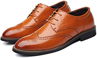 HUAHs0 Formal Oxfords for Men Brogue Carving Shoes Lace up PU Leather Rubber Sole Pointed Toe Solid Color Soft Anti-skid Burnished Style` (Color : Yellow, Size : 38 EU)