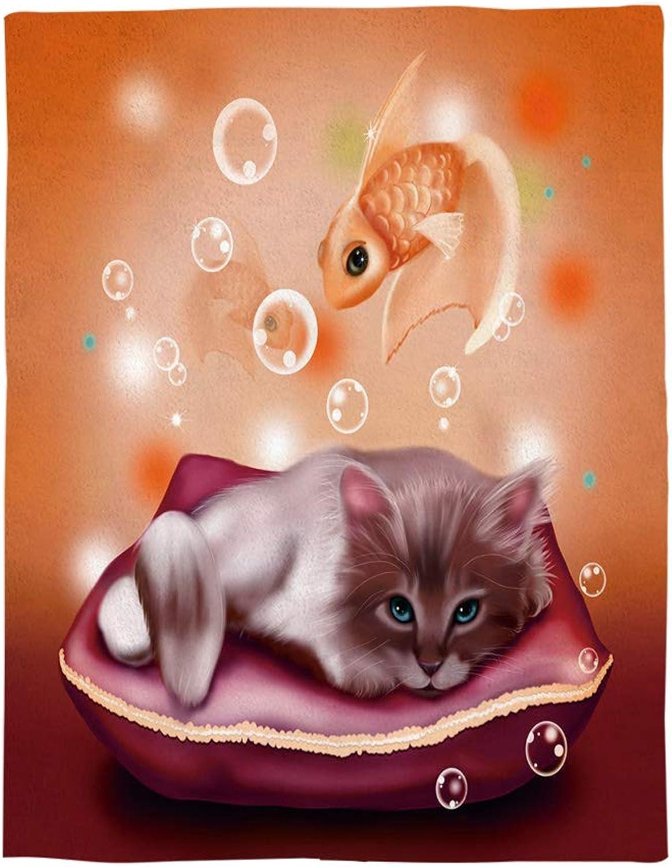 Super Soft Cozy Fluffy Warm Microfiber Throw Blankets  Cartoon Cat Fish  Luxurious Lightweight All Season Flannel Fleece Blanket Bed Couch Gift Blankets Twin 50 x60