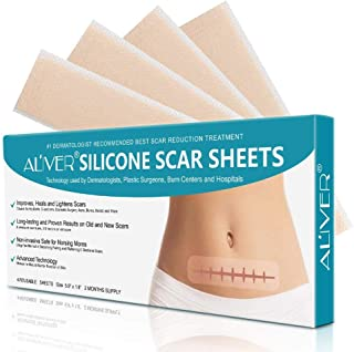 4 Piezas Cicatrices Tratamiento Parches, Fast & Effective Removes Scars for C-Sections, Acne, Surgery, Burn and More, Reusable Scar Strips