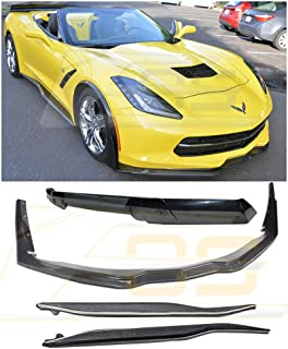 For 2014-2019 Corvette C7 | Z06 Stage 3 CARBON FIBER Front Lip Splitter Side Extension Winglets Side Skirts Rocker Panel & Painted Carbon Flash Rear Wing Smoke Tinted Wickerbill Spoiler