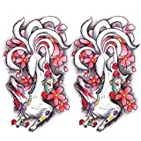Oottati 2 Sheets Arm Waterproof Fake Temporary Tattoos Sticker Japanese Mask Nine Tailed Fox Cherry blossoms Flower