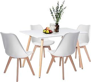 H.J WeDoo Table de Salle à Manger avec 4 Chaises pour Salle à Manger, Cuisine, Séjour, Café (Blanc)