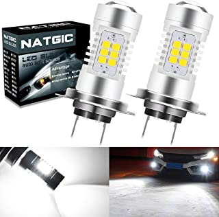 NATGIC H7 LED Bulbs 21-EX 2835 SMD Chipsets with Lens Projector for Fog Lights, Daytime Running Lights, Automotive Driving Lamps, DC 10-16V, 10.5W, Xenon White (Pack of 2)