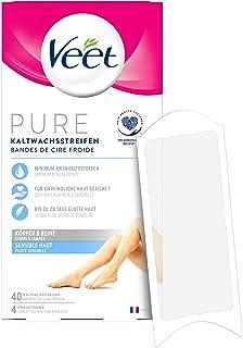 Veet Koudwasstrips met Easy-Gelwax technologie, geschikt voor de gevoelige huid, gebruik voor benen en lichaam, tot 4 weke...