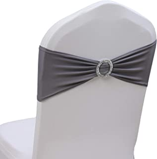100PCS Stretch Wedding Chair Bands with Buckle Slider Sashes Bow Decorations 10 Colors (Dark Gray)