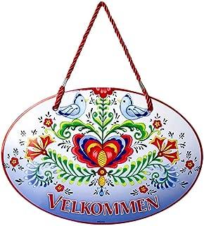 Velkommen with Classic Artwork of Lovebirds & Rosemaling Norwegian Welcome 11x8 Ceramic Door Sign by E.H.G.