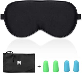Sleep Eye Mask for Men Women, TechRise Eye Mask for Sleeping, Comfortable and Soft Pure Natural Silk Fabric for Travel, Nap, Shift Works (Black)