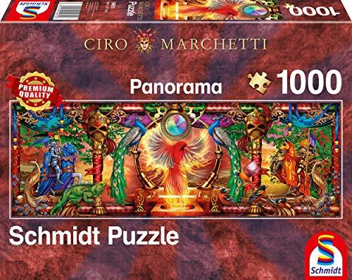 Schmidt Spiele- Ciro Marchetti - Puzzle panorámico de 1000 Piezas, diseño de pájaro de Fuego, Color carbón (59615)