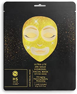 Happy Skin 5-Pack Anti-Aging 24K Gold Ultra-Lite Facial Care with Bee Venom: Hydrogel Face Mask - Paraben-Free, Sulfate-Free Fragrance-Free