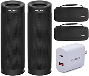 Sony SRSXB23 Extra BASS Bluetooth Wireless Portable Speaker (Black) Stereo Pair with Knox Gear Hardshell Travel and Protective Cases and Kratos 18W PD Two-Port Power Adapter Bundle (5 Items)