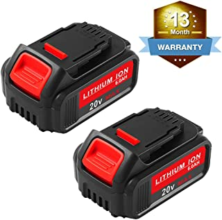 [Upgrade to 6.0Ah] 2Packs 20 Volt Replacement for Dewalt 20V Battery Lithium XRP DCB204 DCB205 DCB206 DCB205-2 DCB200 DCB180 DCD985B DCD771C2 DCS355D1 DCD790B