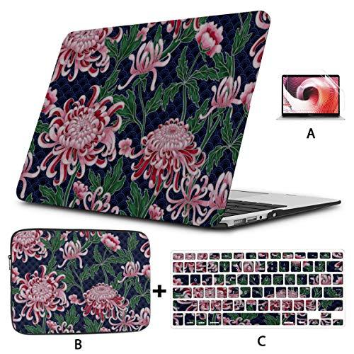 Funda Protectora para Macbook Air Crisantemo Flor Moderna Fundas para portátiles Hard Shell Mac Air 11'/ 13' Pro 13'/ 15' / 16'con Funda para portátil para Macbook Versión 2008-