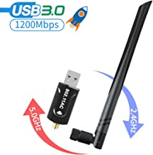 USB WiFi Adapter for PC, 1200Mbps Dual Band 2.4/5Ghz Wireless Network External Receiver, Mini WiFi Dongle with 5dBi High Gain Antenna for Laptop/Desktop
