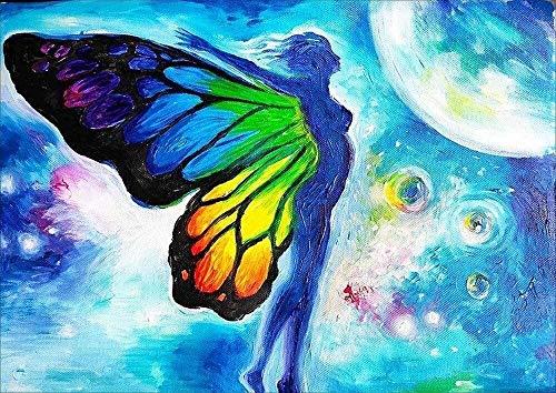 Arte de diamantes Kits de pintura de diamantes de DIY 5D para adultos Alas de mariposa coloridas Fantasía Taladro completo DIY Diamond Art Pintura de punto de cruz por números para el hogar Decoración