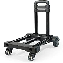 WYKDL Foldable Hand Truck 55KG Capacity - Collapsible 360° Rotating Platform Cart Dolly with Swivel Locked Casters Trolley...