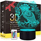 Owl Night Light 3D Illusion Lamp, Metplus LED Optical Lamps Room Decor Bedside Lights with 16 Color Changing, Dimmable,Timing, Remote Touch Control, Birthday Christmas Gift for Kids Girl Boy Women
