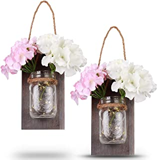 Mason Jar Sconce Rustic Wall Sconces, LED Fairy Lights Wall Decor, Rustic Home Decor,Wrought Iron Hooks, Silk Hydrangea and LED Strip Lights Design for Home Decoration (Colorful)