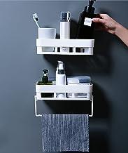 Wolpin Wall Shelves (2 Pc with Towel Hanger) Kitchen Bathroom Shelf Self-Adhesive Sticker Hooks Multipurpose Wall Holder B...