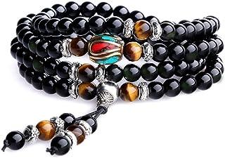 COAI Unique Gift Multilayer Obsidian Stone Beads Prayer Bracelet for Men Women