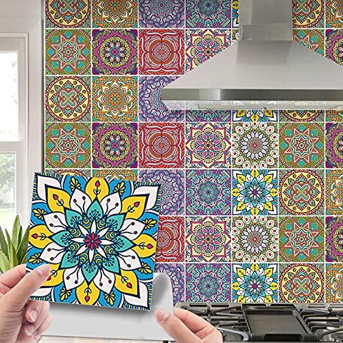 20 Piezas Pegatinas de Azulejos, Pegatinas de Baldosas, Calcomanías Autoadhesivas de Vinilo para Cocina, Pegatinas de vinilo para pared de cocina de PVC, impermeables, diseño étnico multicolor