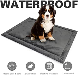 Allisandro Water-Proof Dog Bed Mat Crate Pad, Durable Pet Beds Soft Dog Mattress, Anti-Slip Kennel Pads for Dogs & Cats Washable, Grey