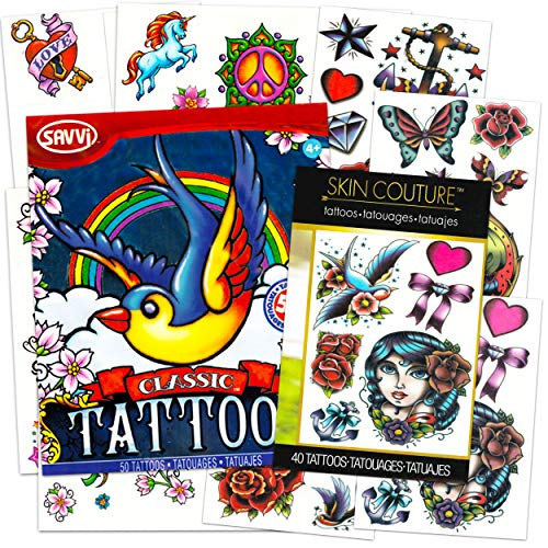 American Traditional Temporary Tattoos for Women Men Adults Halloween Costume Accessories ~ 90 Bold Classic Tattoos with Vintage Designs