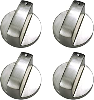 Rolin Roly Brushed metal Gas Stove Knobs Cooker Control Switch Range Oven Knobs Cooktop Burner Knob Gas Hob Switch Kitchen Replacement Accessories (4 x 6mm)