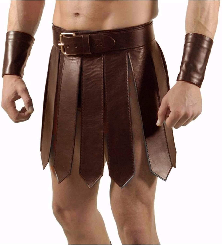 Real 在庫一掃売り切りセール Brown Leather Mens Roman Gladiator 大好評です Set Heavy Kilt LARP Duty