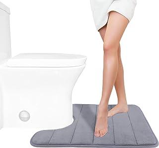 Yimobra Memory Foam Toilet Bath Mat U-Shaped Contour Rug Maximum Absorbent,Soft,Comfortable,Non-Slip,Thick,Machine Wash an...