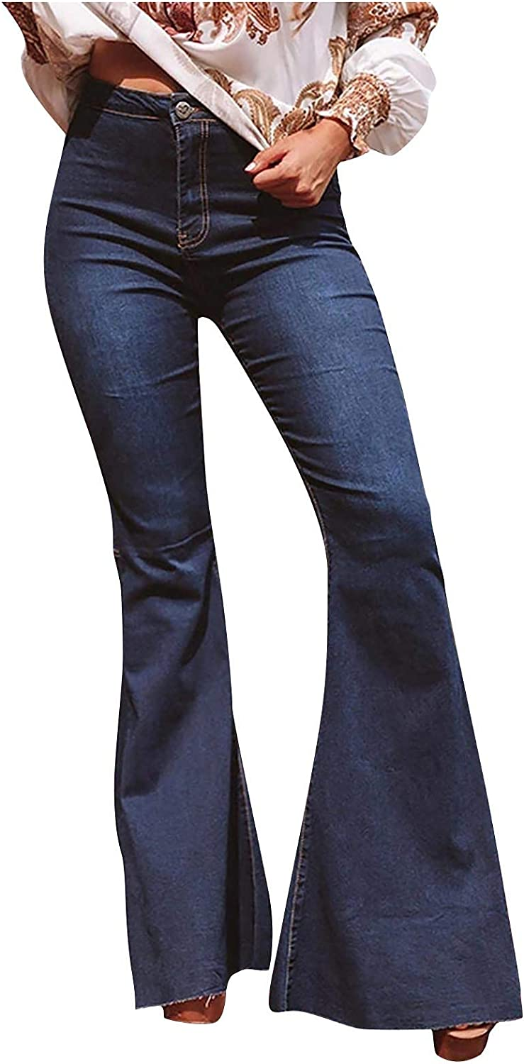 YAWEIE High Waisted Stretchy Financial sales sale Elastic Bottom OFFicial mail order Jeans Bell Den Women