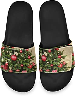 All agree Decorated Christmas Tree Closeup Men's Summer Sandals Slide House Adjustable Slippers Thong Boys