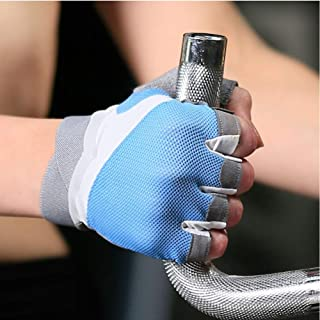 Fitness gloves summer bicycle thin section female half finger breathable non-slip equipment training riding sports gloves (color : GRAY)