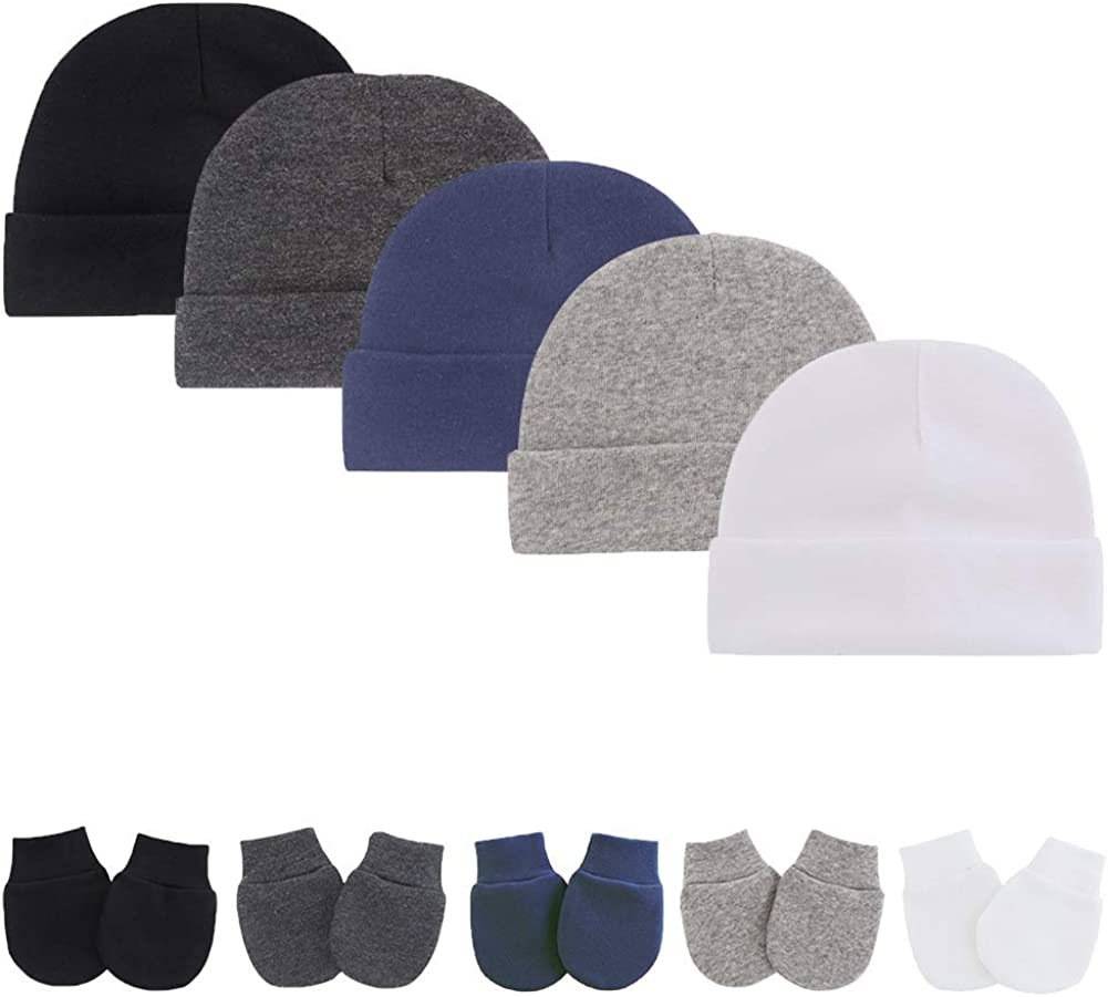 Baby Mitten Hat Sets Infant Many popular brands Cotton No Austin Mall Caps Scr Beanie Hats Skull