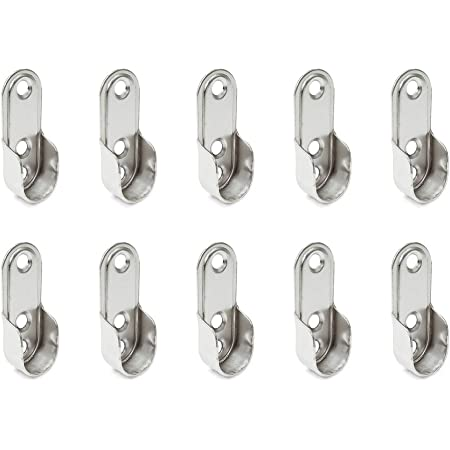 Emuca 7062907 Support latéral pour barre de penderie ovale, Acier, Nickelé, Lot de 10