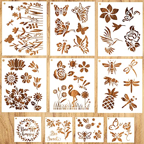 Butterfly Stencils for Painting, 10 Pieces Bee Stencil Flower Reusable Large Dandelion Pineapple Template Stencils for Paint on Wood Wall Decor Crafts