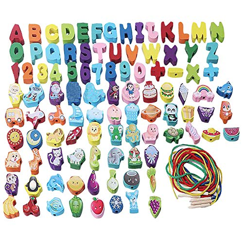 Spielzeug Kinder Baby 40PC Blöcke sind Gewinde Perlen Eimer Babyspielzeug Holzperlen Einfädeln Perlen Aktivität blockiert Kinder Lern- und Lernspielzeug