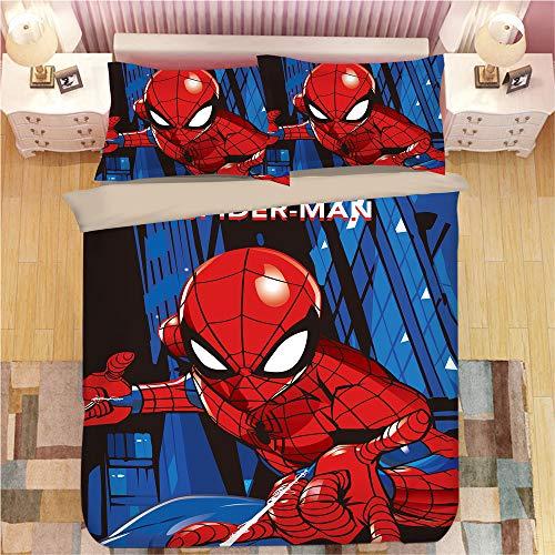 KYNWCLRW Cotton Double Bedding Duvet Set, 3D Digital Print Spider-Man Bed Sets, Premium Polyester-Cotton Fashion Printedduvet Cover And Pillowcase Set, For Kids (220X220Cm)