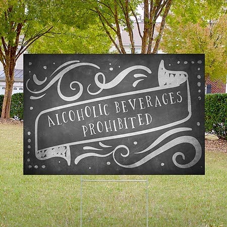 Chalk Banner Double-Sided Weather-Resistant Yard Sign Alcoholic Beverages Prohibited CGSignLab 5-Pack 18x12