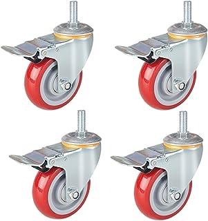 """WQF 4 Swivel Castor Wheel,Trolley Meubelwiel,12mm Schroefstaaf,Diameter 3""""/4 inc/5"""", Geschikt voor trolleys,Werkbanken,Gar..."""