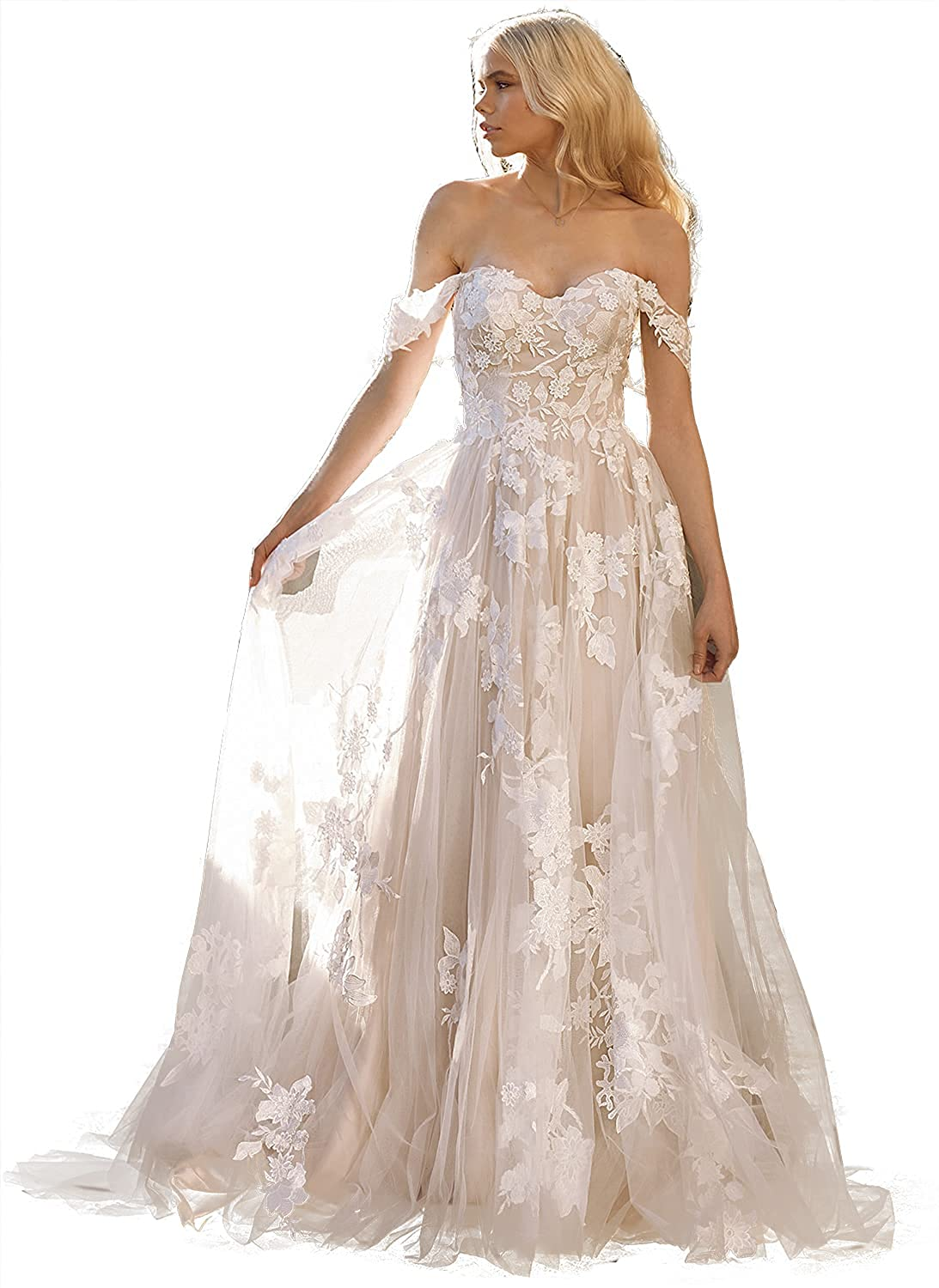 Lover Kiss Women's Floral Lace Wedding Dresses for Bride 2021 Long Off Shoulder Beaded Mermaid Bridal Gowns