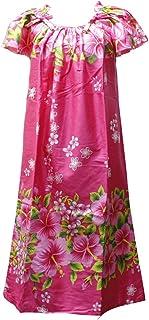 沖縄生まれのムームードレス、フレンチスリーブでゆったり着れます!ピンク地にハイビスカス柄 fr-07