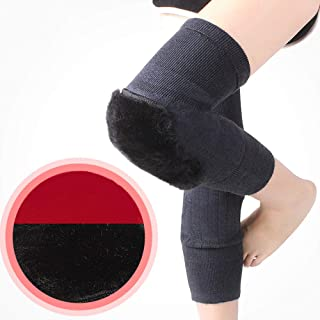 膝プラスベルベット暖かい保護具、レディース冬のカシミヤの膝パッド、快適な高弾性通気性のないムッと、2個,Plusvelvet