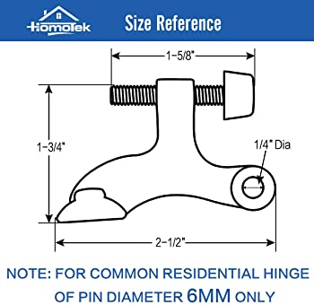 """HOMOTEK 8 Pack Hinge Pin Antique Brass Door Stopper,Adjustable Deluxe Heavy Duty Door Stopper 2-1/2""""x1-3/4"""",with Blac..."""