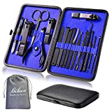 Manicure Set, Bihuo 18 In 1 Stainless Steel Professional Pedicure Kit Nail Scissors Grooming Kit - Black Portable Travel Nail Manicure/Pedicure Tools kit for Men and Women (Blue)