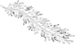 Lurrose Crystal Hair Pins Rhinestone Leaves Hair Clips Bead Clamps Delicate Barrettes Hairpins Wedding Headdress Headwear (Silver)