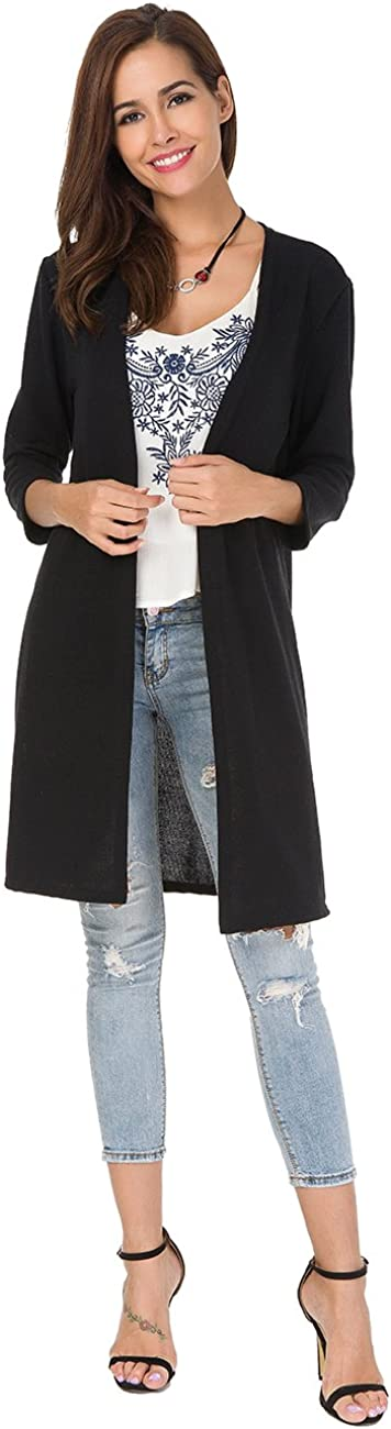 Womens Open Front Long Cardigan 3/4 Sleeve Knit Shirt Long Sweaters Loose Shirts