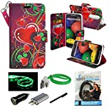 Droid Turbo 2 Case, Mstechcorp Droid Turbo 2 Wallet Case, Luxury PU Leather Case Flip Cover Built-in Card Slots & Stand for Motorola Moto Droid Turbo 2 - with Accessories (Floating Hearts)