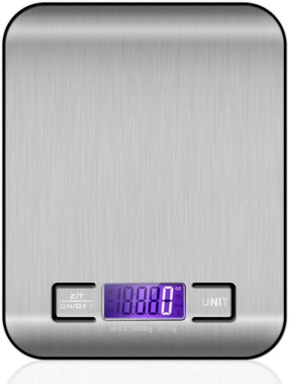 Ba30DEllylelly Báscula de cocina de acero inoxidable, pesaje electrónico, 5 kg, báscula de cocina doméstica, comida, escala de gramo, mini joyería, dijo